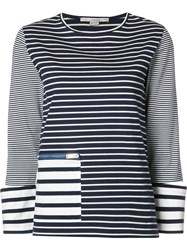Stella Mccartney Zipped Pocket Striped T Shirt Blue