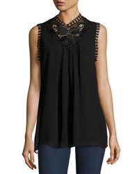 Max Studio Sleeveless High Neck Lace Trim Blouse Black
