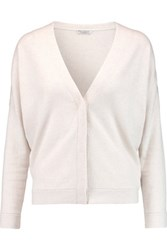 Brunello Cucinelli Cropped Bead Embellished Cashmere Cardigan Cream