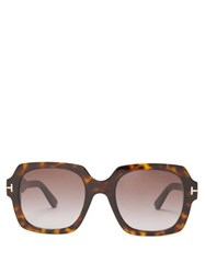 Tom Ford Eyewear Logo Plaque Square Acetate Sunglasses Tortoiseshell