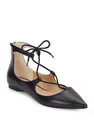 Saks Fifth Avenue Estyn Lace Up Leather Point Toe Flats Black