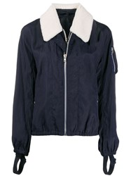 Helmut Lang Fitted Jacket With Shearling Trim Blue