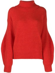 Closed Oversized Ribbed Jumper Red