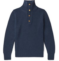 Dunhill Leather Trimmed Ribbed Merino Wool Sweater Blue