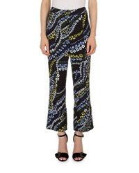Erdem Verity Cropped Flare Leg Pants Black Multi Black Multi