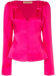 Maggie Marilyn V Neck Button Blouse Pink And Purple