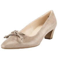 Peter Kaiser Stephanie Bow Block Heeled Court Shoes Taupe