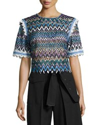 Saloni Ophell C Chevron Lace Crop Top Multicolor Multi Pattern