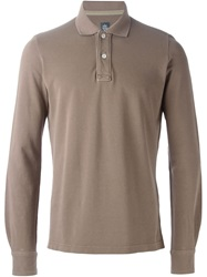 Eleventy Longsleeved Slim Fit Polo Shirt Nude And Neutrals