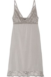Eberjey Noor Lace Trimmed Stretch Modal Jersey Chemise Stone