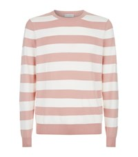 Gieves And Hawkes Striped Crew Neck Sweater Pink