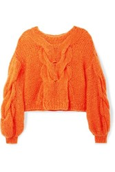 Loewe Oversized Cable And Open Knit Mohair Blend Sweater Orange
