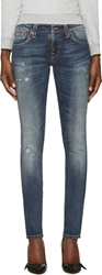 Nudie Jeans Blue Organic Kim Replica Tight Long John Jeans