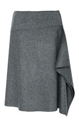 Tomas Maier Draped Felted Wool Skirt Grey