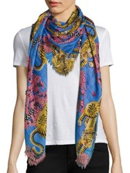 Gucci Flower Tigers Modal And Silk Scarf Periwinkle Pink