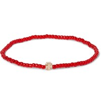 Luis Morais Maltese Cross Gold And Glass Bead Bracelet Red