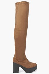 Boohoo Cleated Over The Knee Boot Tan