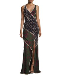 Jason Wu Sleeveless Mixed Print Chiffon Gown Multi