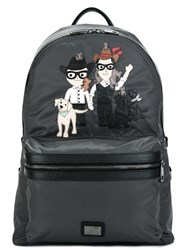 Dolce And Gabbana 'Vulcano' Designer's Patch Backpack Grey
