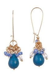 Spring Street Beaded Turquoise Drop Hoop Earrings Blue