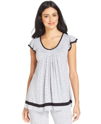 Ellen Tracy Yours To Love Short Sleeve Top Grey Heather Dot