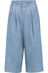 Alice Olivia Ken Pleated Chambray Culottes Light Denim