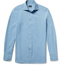 Ermenegildo Zegna Slim Fit Spread Collar Washed Denim Shirt Light Denim