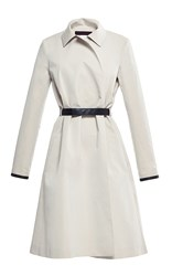 Martin Grant Cotton Silk Trench Coat With Leather Trim Off White
