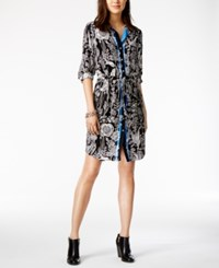 Tommy Hilfiger Floral Print Shirtdress Only At Macy's Black