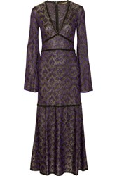 Roberto Cavalli Lace Trimmed Metallic Crochet Knit Maxi Dress Purple