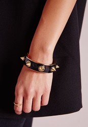 Missguided Heavy Spike Bangle Black Black