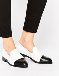 Park Lane Toecap Slip On Leather Flat Shoes Whiteblack