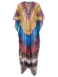 Izabel London Feather Flow Kaftan Dress Multi Coloured Multi Coloured