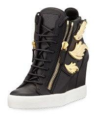 Giuseppe Zanotti Metallic Wing Leather High Top Wedge Sneaker Black Nero Size 36.0B 6.0B Birel Nero