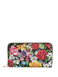 Dolce And Gabbana Floral Print Continental Purse Black