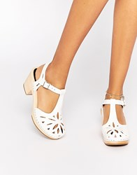 Swedish Hasbeens White Leather Lacy Sandals White