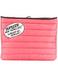 Moncler Speech Bubble Quilted Clutch Pink And Purple