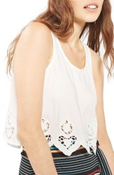 Topshop Women's Embroidered Scallop Swing Tank