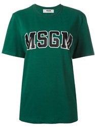 Msgm Logo T Shirt Green
