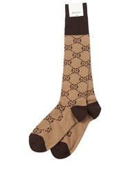 Gucci Gg Supreme Logo Cotton Blend Socks Beige Brown