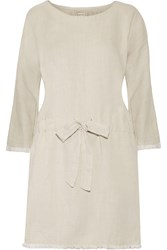 Current Elliott The Cinched Frayed Twill Mini Dress White