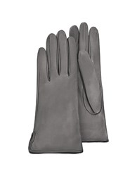 Forzieri Women's Gray Calf Leather Gloves W Silk Lining