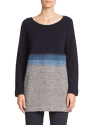 Piazza Sempione Colorblock Knit Tunic Blue Grey