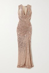Reem Acra Draped Sequined Tulle Gown Gold