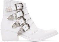 Toga Pulla White Four Buckle Western Boots