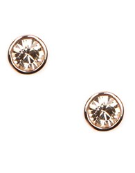 Givenchy Rose Gold Plated Crystal Stud Earrings Clear