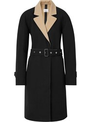Burberry Two Tone Tropical Gabardine Belted Car Coat Black