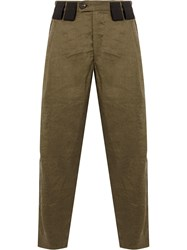 Ziggy Chen Contrast Belt Loops Cropped Trousers Brown