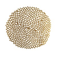 Chilewich Pressed Vinyl Dahlia Round Placemat Brass