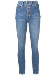 Alice Olivia Button Front Skinny Jeans Blue